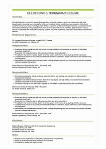 How To Write A Objective For A Resumes Sample Electronics Technician Resume