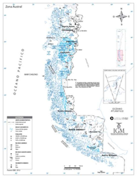 Mapa de la zona Austral Curriculum Nacional MINEDUC Chile