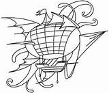 Steampunk Airship Embroidery Designs Coloring Steam Motifs Urbanthreads Pages Subcultures Victorian Styles sketch template