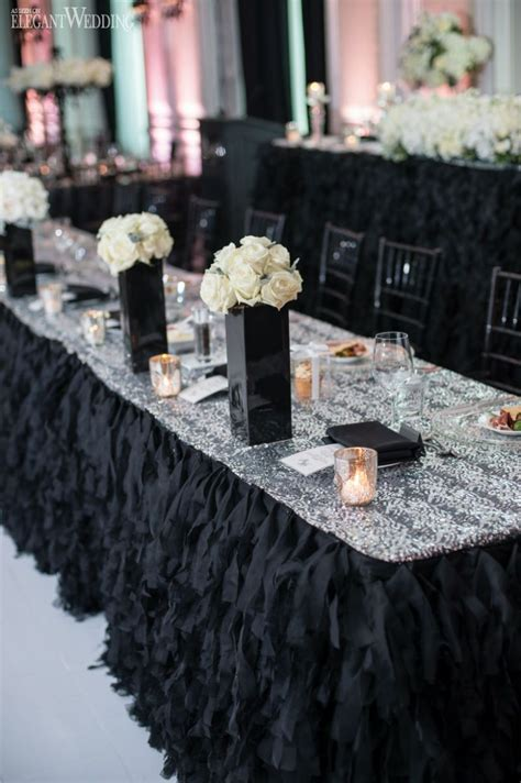 luxurious and glamourous black wedding table setting black wedding decor black table