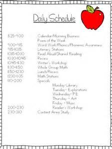 Kindergarten Daily Schedule School