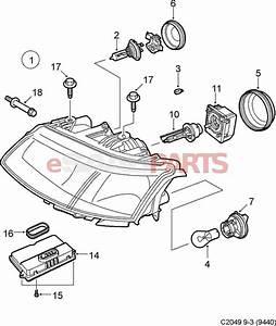 Saab 9 3 Car Headlights Diagram  Saab  Auto Parts Catalog And Diagram