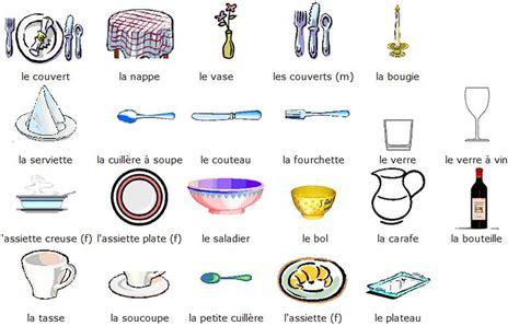 vocabulaire ustensiles de cuisine bleu blanc mettre la table
