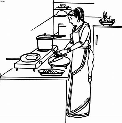 Coloring Cooking Clipart Housewife Cliparts Clip Activity