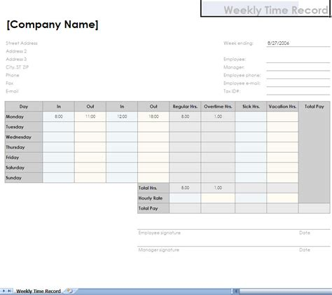 Time Recording Template by Printable Employee Weekly Time Record Trials Ireland