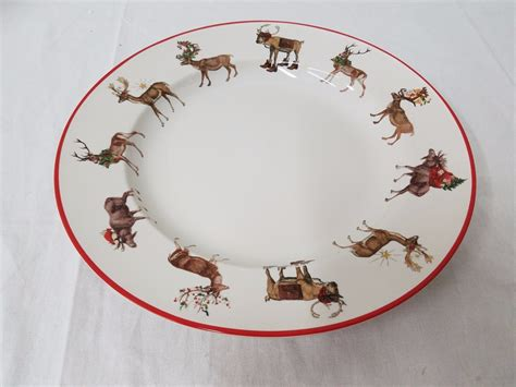 pottery barn reindeer plates pottery barn silly stag reindeer dinner plates set of 8