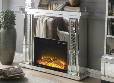 nysa fireplace   mirror  acme wadjustable