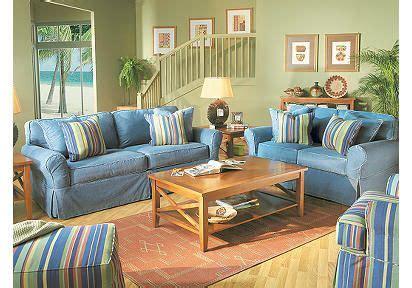 cindy crawford slipcover sofa cindy crawford home beachside denim 7 pc livingroom