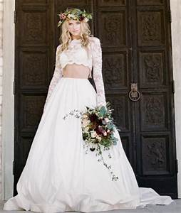 bridal two piece wedding dress applique illusion long With two piece long sleeve wedding dress