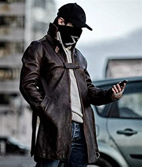 dogs brown aiden pearce coat trench hleather jackets