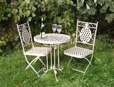 shabby chic patio furniture cream shabby chic metal bistro set patio garden furniture metal table and chairs ebay