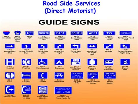 the color of a motorist service sign is three types of