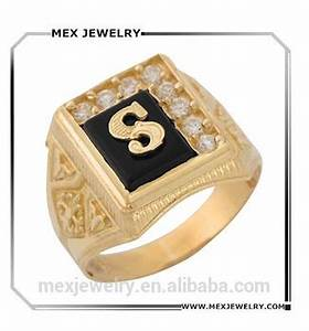 custom gold black onyx white cz accented mens classic With s letter gold rings
