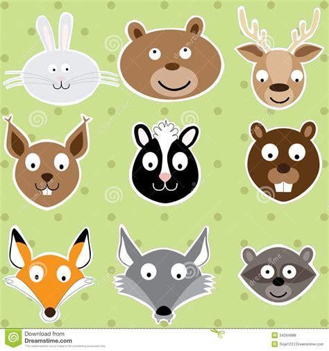 cute forest animals illustration set stock vector