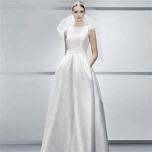 discount bateau neck a line wedding dresses simple satin With simple modern wedding dress