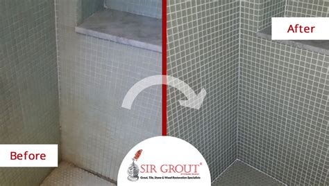 soap scum and mold plagued this mosaic tile shower in