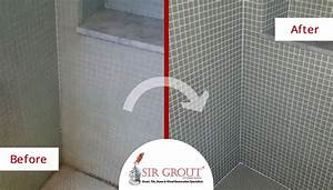 soap scum and mold plagued this mosaic tile shower in With soap scum on shower floor