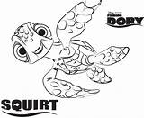 Squirt Dory Coloring Finding Pages Disney Movies sketch template