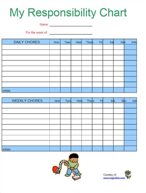 Chore Chart Template 22 Chore Chart Template Free Pdf Excel Word Formats