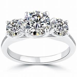 3 05 carat e si2 three stone natural diamond engagement With natural stone wedding rings