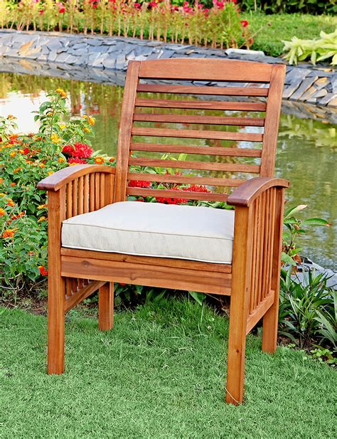 walker edison set of 2 brown acacia patio chairs with