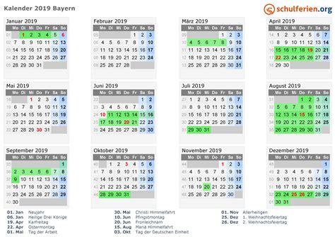 bayern sommerferien 2019 kalender 2019 ferien bayern feiertage