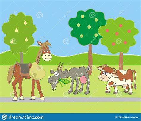 Players only have to say the name of the animal. Farm Animals On Pasture, Funny Vector Illustration Stock ...