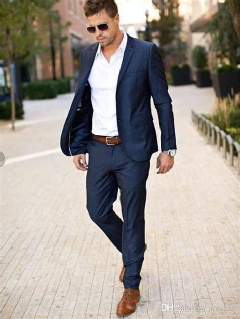 Asos design wedding super skinny suit pants in stretch cotton linen in navy. Navy Blue Two Pieces Mens Suits Slim Fit Wedding Grooms ...
