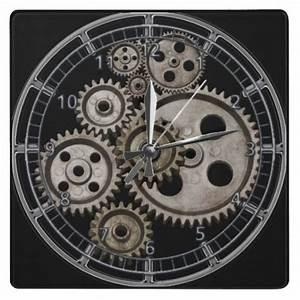 steampunk gears cogs engine square machine clock   Zazzle ...