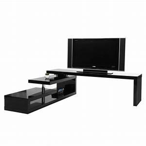 Meuble Tv Design Laqué : miliboo meuble tv design laqu noir pivotant achat vente meuble tv miliboo meuble tv ~ Teatrodelosmanantiales.com Idées de Décoration