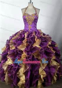 Purple and Gold Quinceanera Dresses