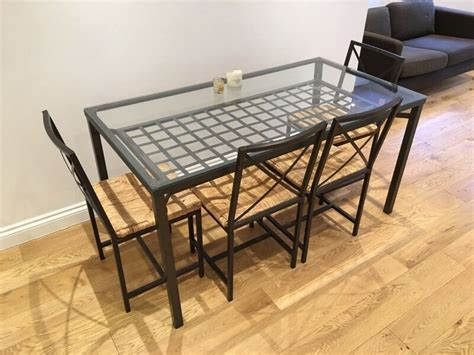 ikea glass kitchen table top ikea granas glass topped dining table and 4 chairs in