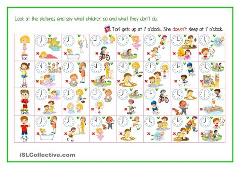 daily routine  time activities telling time