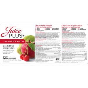 Juice Plus Orchard Blend Nutrition Label