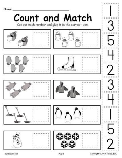 free printable winter counting and matching cut and paste worksheet worksheets activities