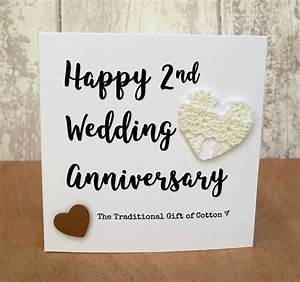 2nd wedding anniversary gift cotton script card ebay With 2nd year wedding anniversary