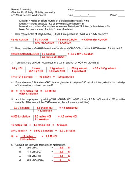 chemistry unit 1 worksheet 6 dimensional analysis answer