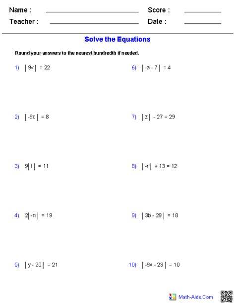 solving absolute value equations worksheet algebra 1 worksheets equations worksheets