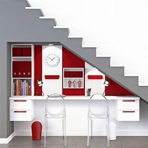Bureau Sous Escalier : bureau spaceo home blanc leroy merlin ~ Farleysfitness.com Idées de Décoration
