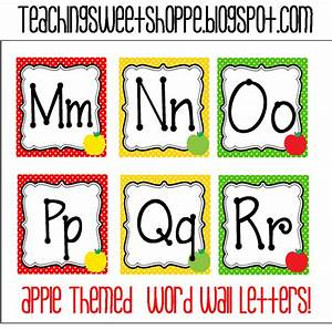 the teaching sweet shoppe apple themes word wall cards With alphabet letters with pictures for word wall