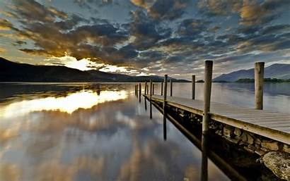 Dock Wallpapers Background Sunset Sunrise Lakes Mountains