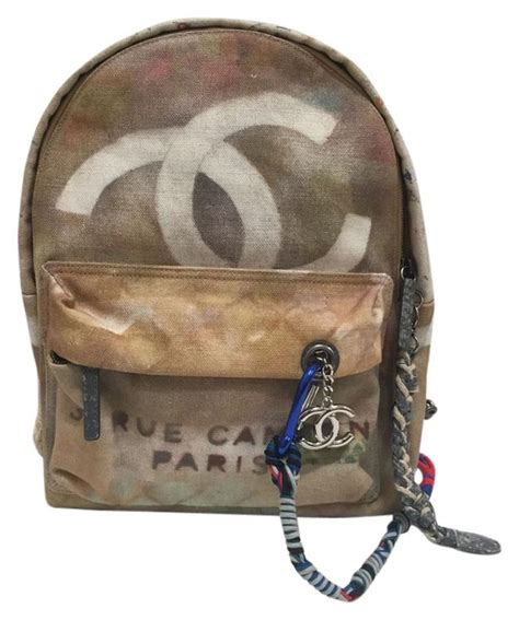 chanel graffiti backpack      tradesy