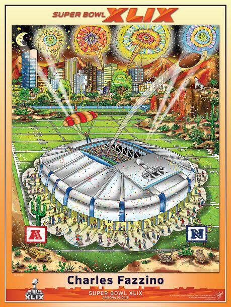 Super Bowl Xlix Arizona 2015 Official Pop Art Poster By