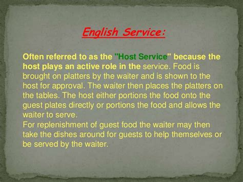 Guest Services Definition by Types Of Food And Beverage Services