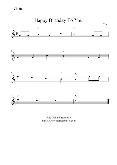happy birthday to you free violin sheet music notes