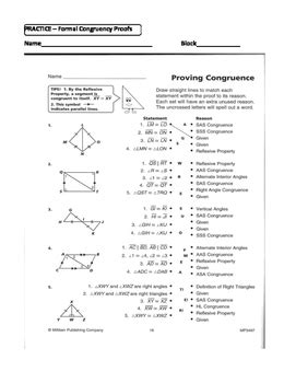 geometry unit  congruent triangles  column proofs sss