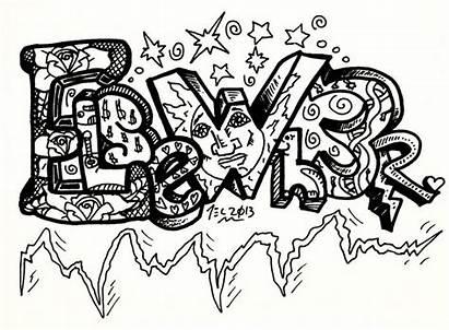 Graffiti Coloring Drawings Teenagers Letters Cool Word