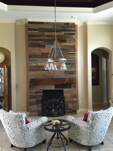 fireplace ideas with tv 39 s reclaimed wood accent wall with custom mantle
