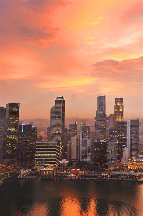 Beautiful Singapore View Sunset Architecture Photos