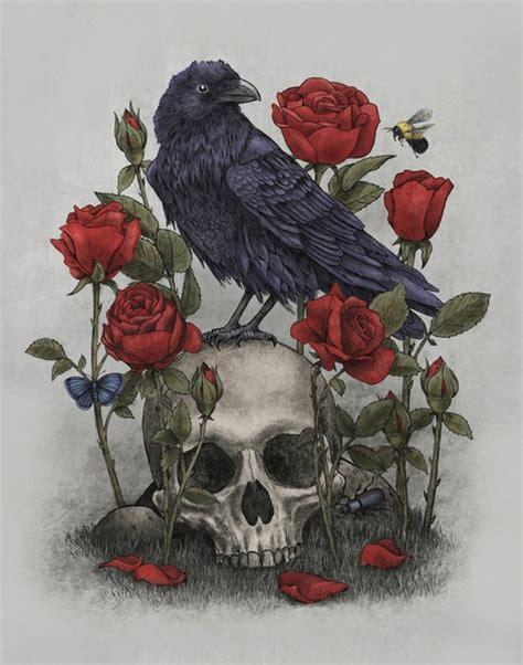 memento mori death skull crow raven image   favimcom